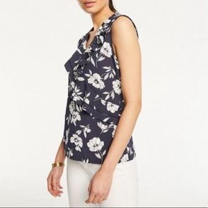Ann Taylor Floral Pleat Ruffle Top